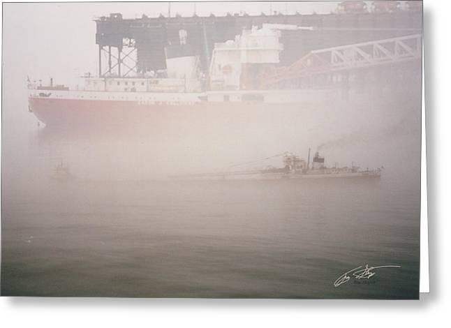 Two Harbors Fog Ship II Greeting Card