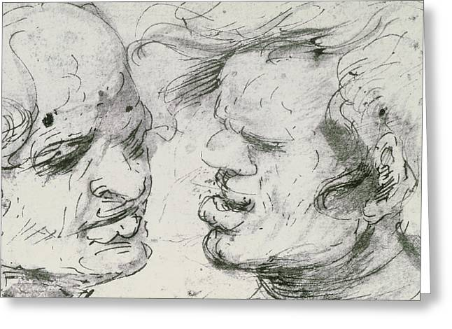 Two Heads Greeting Card by Leonardo Da Vinci