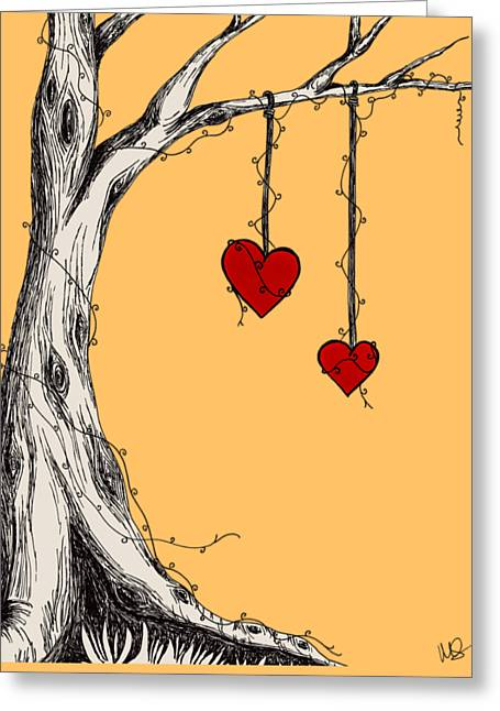 Two Hearts Graphic Greeting Card by Melissa Smith