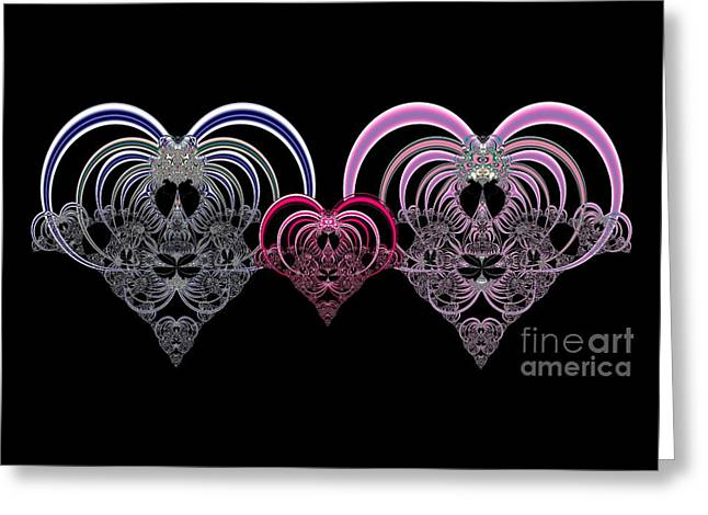 Two Hearts That Beat As One Fractal 80 Greeting Card