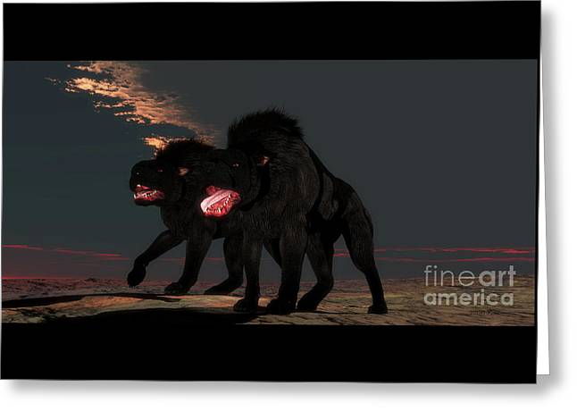 Two Hellhounds Greeting Card