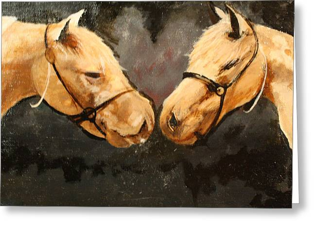 Two Horse Greeting Card by Shannon Rains
