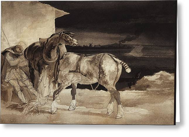 Two Horses And A Sleeping Groom  Greeting Card