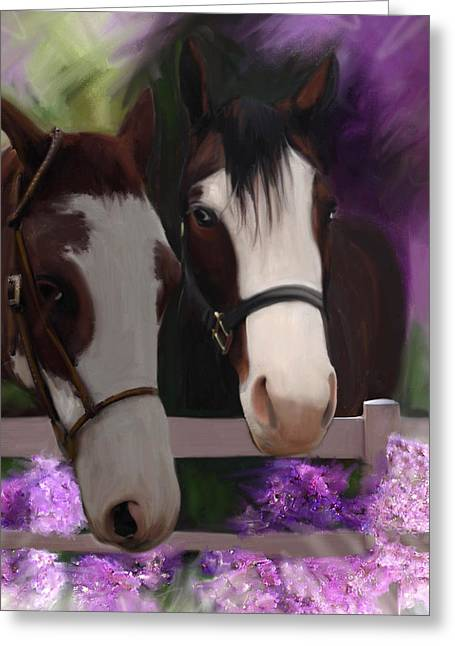 Two Horses And Purple Flowers Greeting Card by Julianne  Ososke