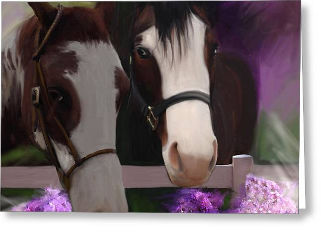 Two Horses And Purple Flowers Greeting Card