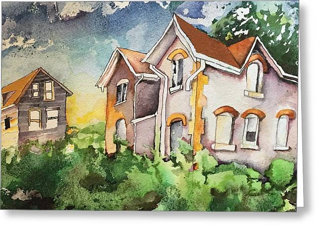 Two House Greeting Card by Scott Wesley Jones