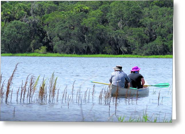 Two In A Canoe Greeting Card by Rosalie Scanlon