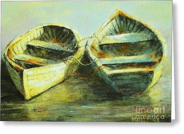 Two In A Row Greeting Card by Madeleine Holzberg