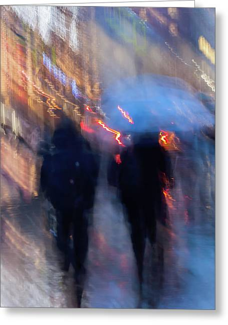 Two In The Rain Greeting Card by Svetlana Iso