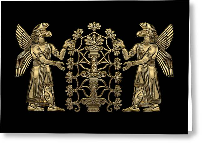 Two Instances Of Gold God Ninurta With Tree Of Life Over Black Canvas Greeting Card