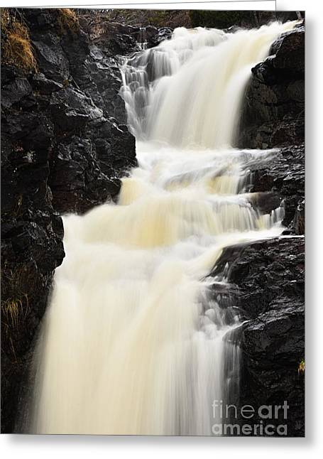 Greeting Card featuring the photograph Two Island River Waterfall by Larry Ricker