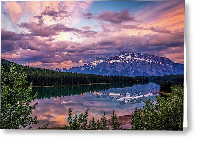 Two Jack Lake Sunset Greeting Card