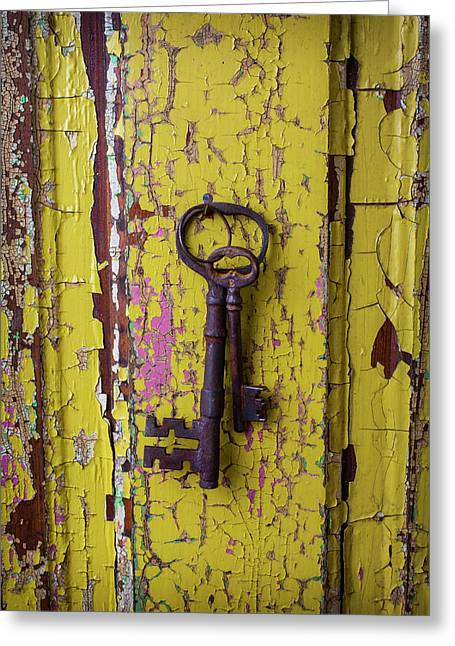 Two Keys On Yellow Door Greeting Card