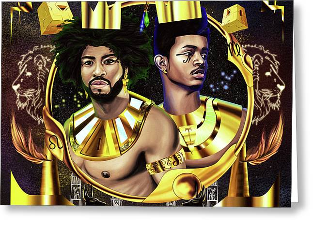 Two Kings Ian And Trevor Jackson Greeting Card by Kenal Louis