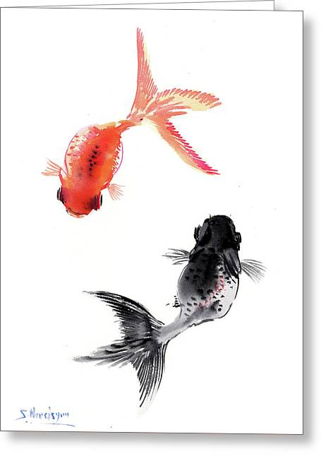 Two Koi Greeting Card by Suren Nersisyan