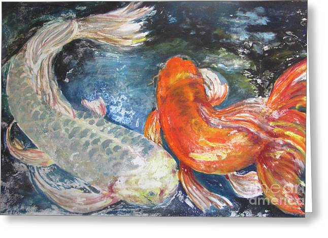 Greeting Card featuring the painting Two Koi by Susan Herbst
