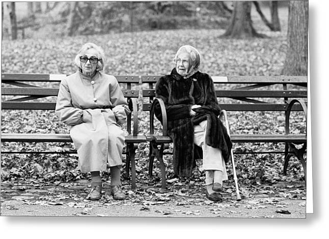Greeting Card featuring the photograph Two Ladies On Bench by Dave Beckerman