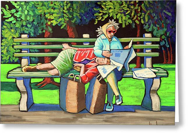 Two Ladies On Bench Greeting Card