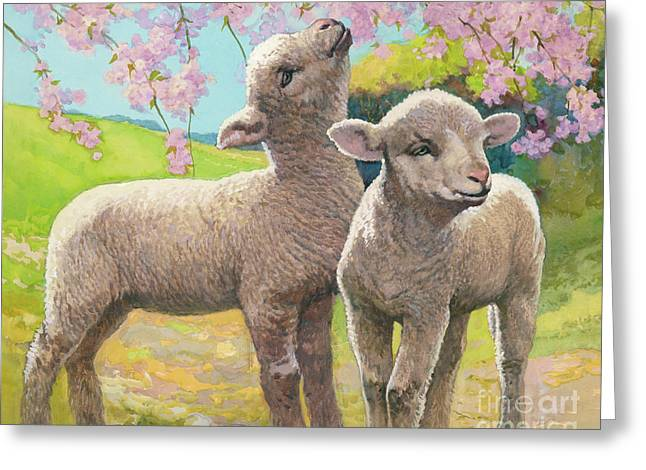 Two Lambs Eating Blossom Greeting Card by Van der Syde