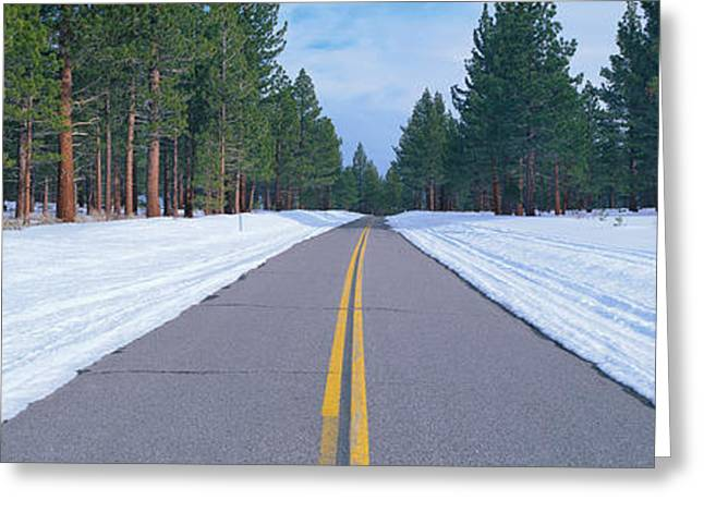 Two Lane Road In Snow With Evergreen Greeting Card by Panoramic Images