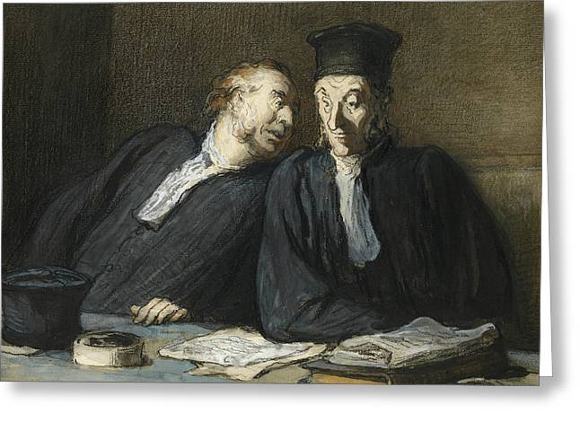 Two Lawyers Conversing Greeting Card by Honore Daumier