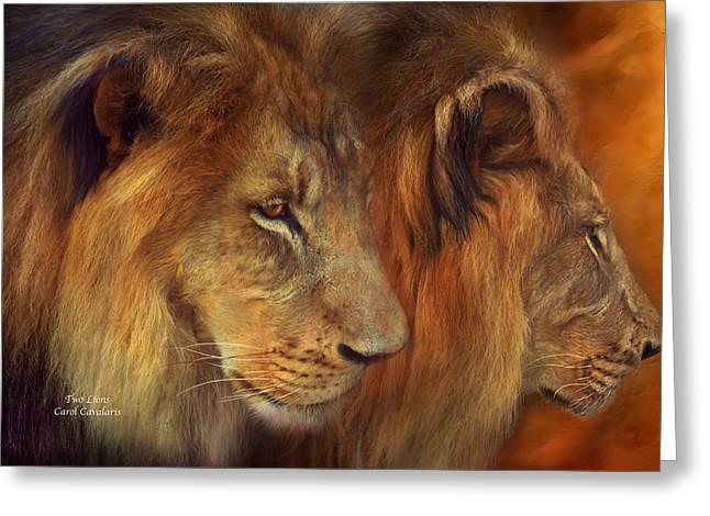 Two Lions Greeting Card by Carol Cavalaris