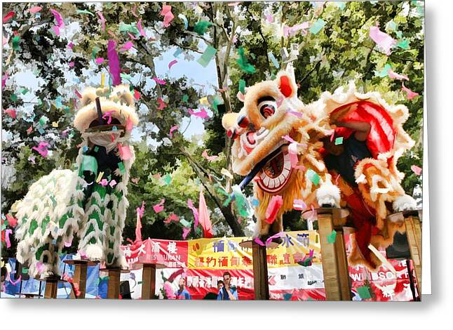 Two Lions Dancing  Greeting Card by Lanjee Chee