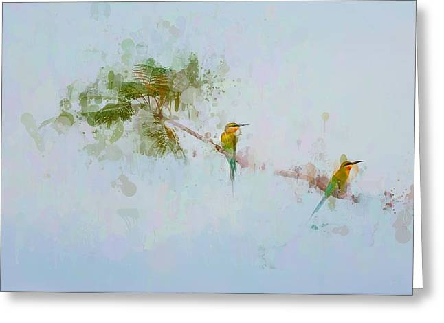 Two Little Birds Greeting Card by Kamarulzaman Russali