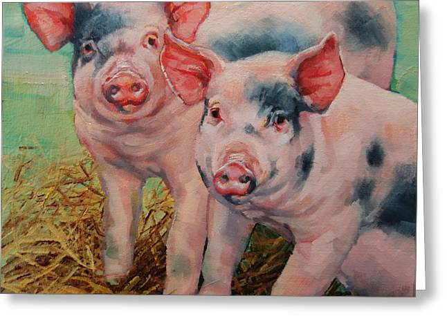 Two Little Pigs  Greeting Card by Margaret Stockdale