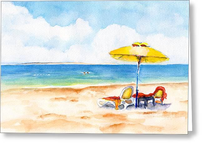 Two Lounge Chairs On Tropical Beach Greeting Card by Carlin Blahnik