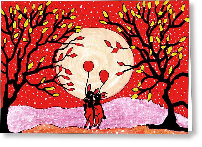 Reds Of Autumn Mixed Media Greeting Cards - Two love bunnys Greeting Card by Connie Valasco