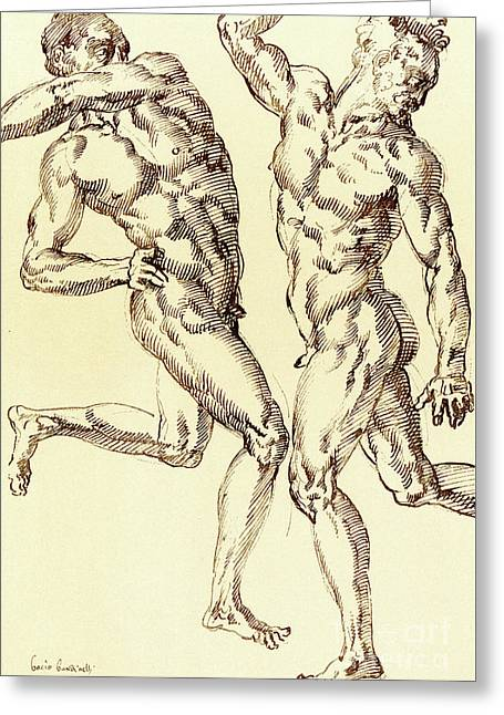 Two Male Nude Studies Greeting Card