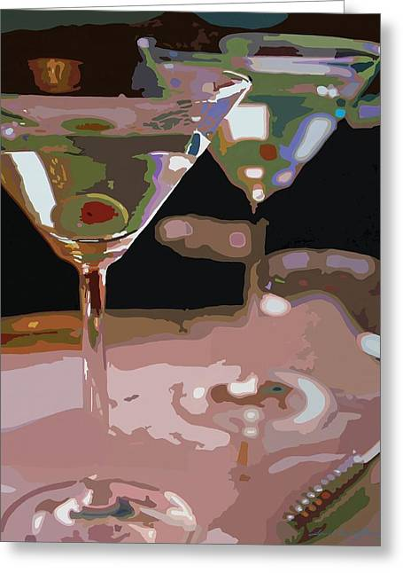 Olives Greeting Cards - Two Martini Lunch Greeting Card by David Lloyd Glover