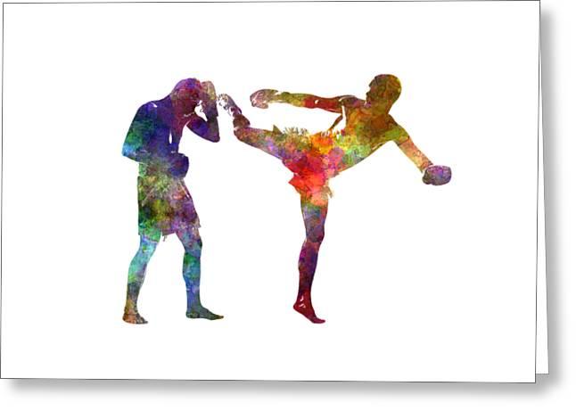 Two Men Exercising Thai Boxing Silhouette 01 Greeting Card