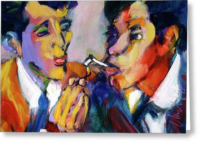 Two Men On A Match Greeting Card