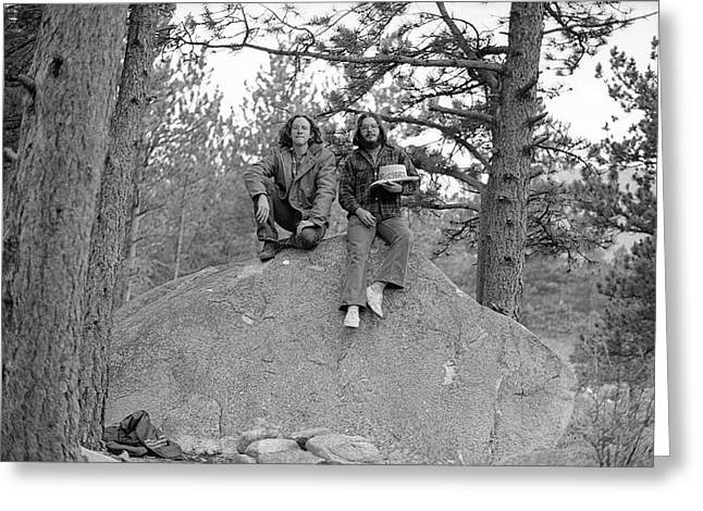 Two Men On A Boulder In The American West, 1972 Greeting Card