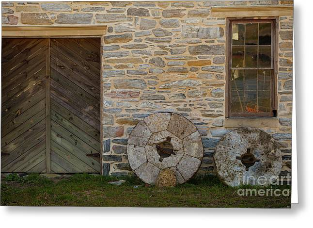 Two Mill Stones Against Building Greeting Card