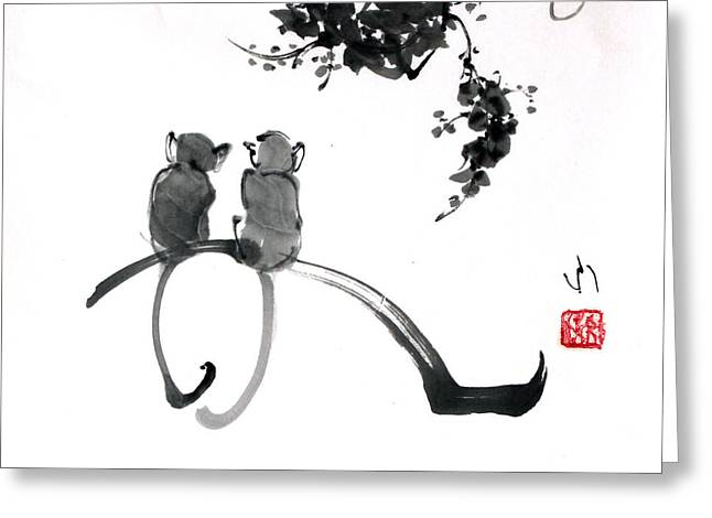 Two Monkeys Greeting Card