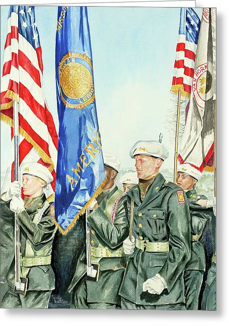 Kansas City Paintings Greeting Cards - Two Months After 9-11  Veterans Day 2001 Greeting Card by Carolyn Coffey Wallace
