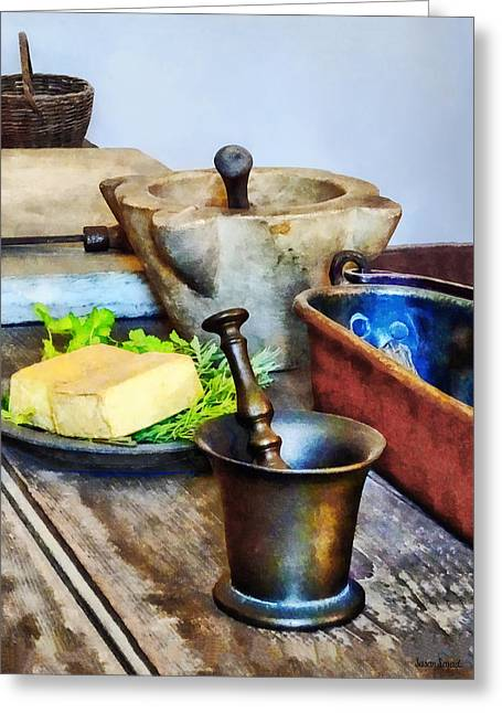 Two Mortar And Pestles In Kitchen Greeting Card by Susan Savad