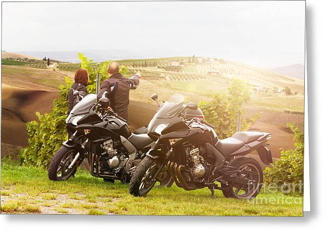 Two Motorcyclists Enjoying The View In Tuscany Greeting Card