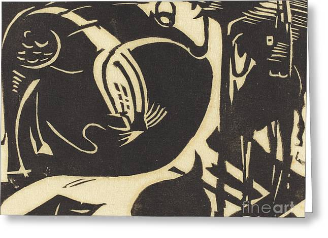 Two Mythical Animals Greeting Card by Franz Marc