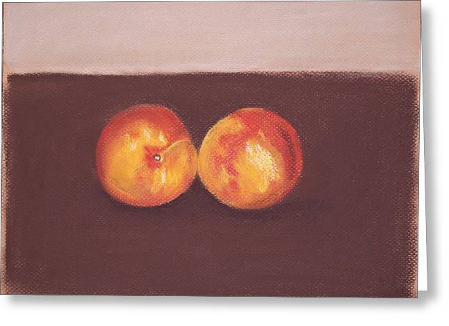 Two Nectarines Greeting Card by Marina Garrison