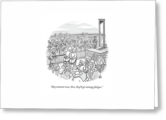 Two Nobles Walk Toward Guillotine Greeting Card by Paul Noth