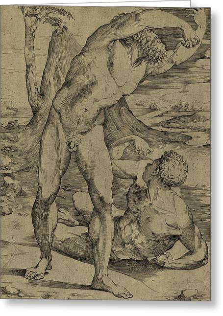 Two Nude Men  One Standing, One Reclining Greeting Card by Domenico Beccafumi