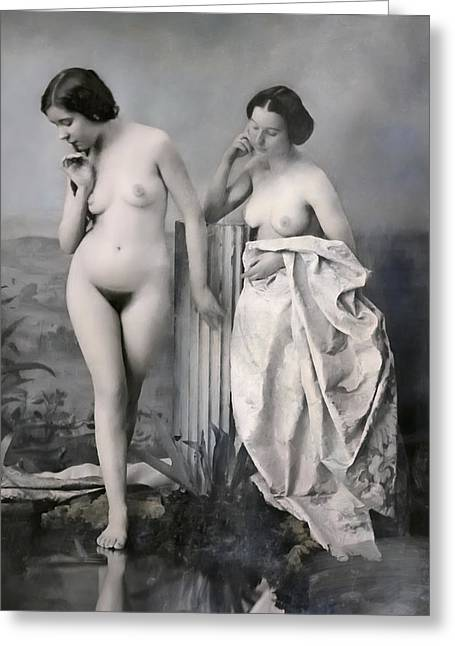Frontal Nude Greeting Cards - TWO NUDE VICTORIAN WOMEN at the BATHS c. 1851 Greeting Card by Daniel Hagerman