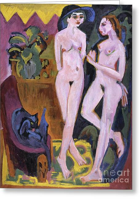 Two Nudes In A Room, 1914 Greeting Card by Ernst Ludwig Kirchner