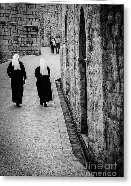 Two Nuns Walk Down St Dominika Street, Black And White, Dubrovnik, Croatia Greeting Card by Global Light Photography - Nicole Leffer