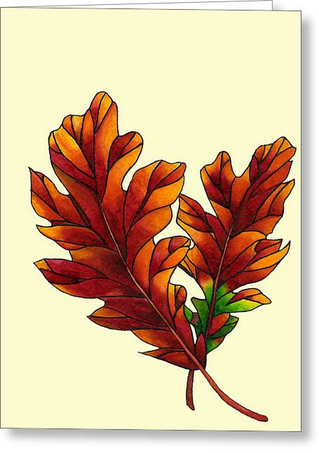 Dawnstarstudios Greeting Cards - Two Oak Leaves Greeting Card by Dawnstarstudios