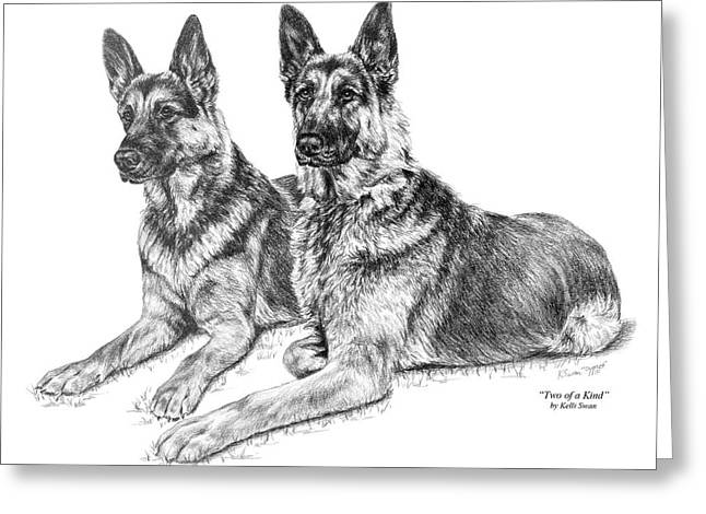 Two Of A Kind - German Shepherd Dogs Print Greeting Card by Kelli Swan